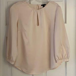 Ann Taylor hammered silk cream blouse